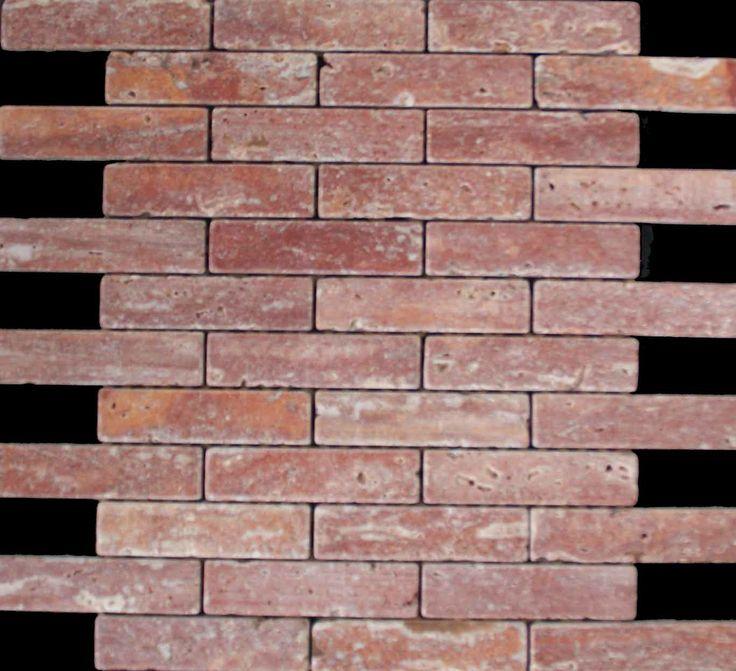 Mozaika marmurowa -  Kolekcja: Brico 25100; Kod: B2510010; Wykończenie: ANTICO; Materiał: Travertino Red; Wym. Kostki: 2,5x10 cm; Wym. Plastra: 35,3x31,8 cm;