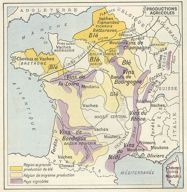 Carte de France des Productions Agricoles