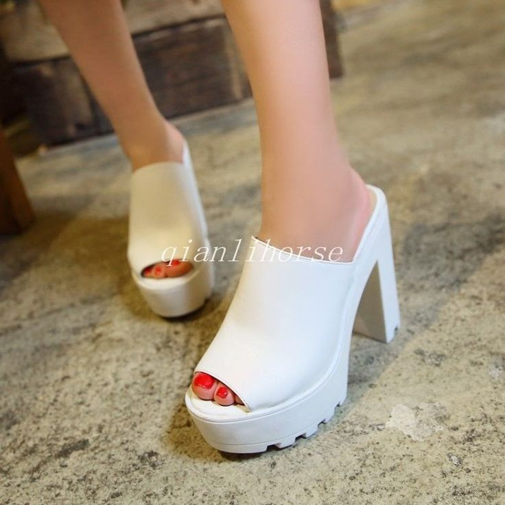Summer Slipper Women Peep Toe Block High Heel Platform Roman Casual Sandal Shoes