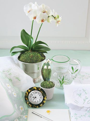 Orchids in a silver cachepot. Porcelain and tole lily-of-the-valley flowers in French terra-cotta pot, sit next to a tortoise shell framed alarm clock. Dior pitcher. Pillowcase from Paris.   - Veranda.com