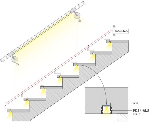 LED Stair Lighting Systems, Stair Lights: Luz LED Nos Degraus Das Escadas