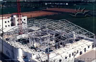 Es Paradis in the 70s building their pyramid roof!