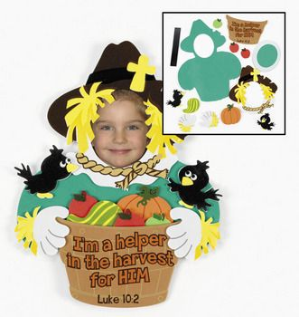 Christian Fall scarecrow photo frame craft kit for kids.