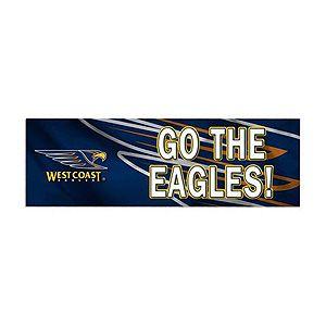 "Official AFL West Coast Eagles Bumper Sticker. West Coast Eagles Football Club logo and ""Go The Eagles"" above close up West Coast Eagles logo graphic."