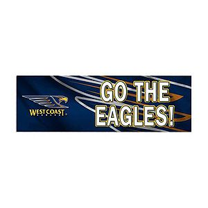 "Official AFL West Coast Eagles Bumper Sticker. West Coast Eagles Football Club logo and ""Go The Eagles"" above close up West Coast Eagles logo graphic."