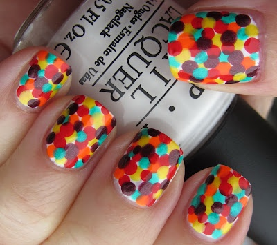 Marias Nail Art and Polish Blog: Hiding in Skittles: Confetti Nails, Nails Art Ideas, Nails Design, Nailart, Colors, Polka Dots Nails, Polkadots, Nail Art, Amazing Nails