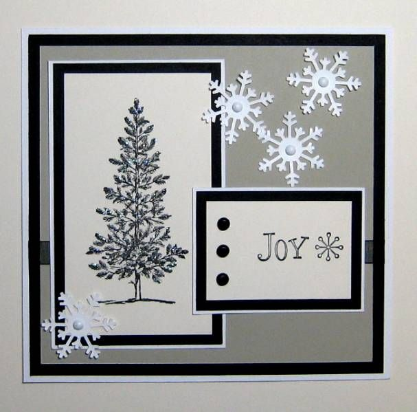 handmade card: Snowflake Joy by beadfreak22 ... black, white, gray ... glittered tree image ... diecut snowflackes with pearls ... Stampin' Up!