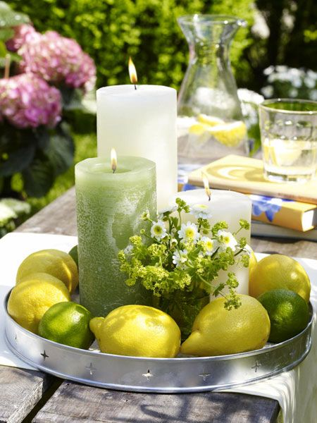 decorating ideas garden table tablet lemon wreath candles