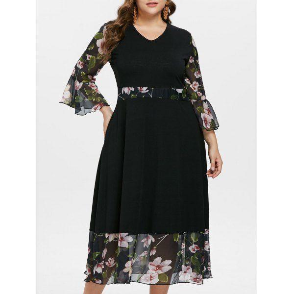 17b4b4e9c2e Plus Size Floral Flare Sleeve Maxi Dress In Black 3x