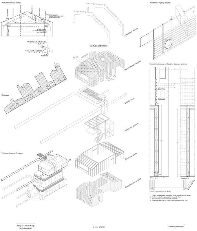 La Cosa. Axonométrica de detalle. Langarita-Navarro. MediaLab Prado. Cortesía de Langarita-Navarro.