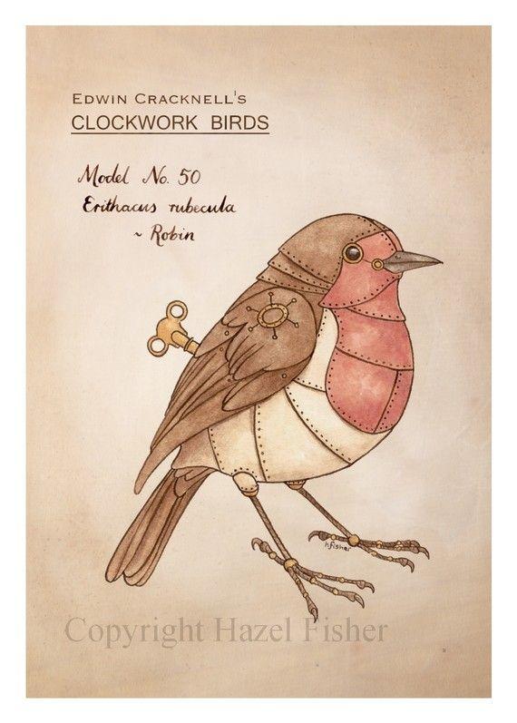 Clockwork Bird - Robin - steampunk Illustration