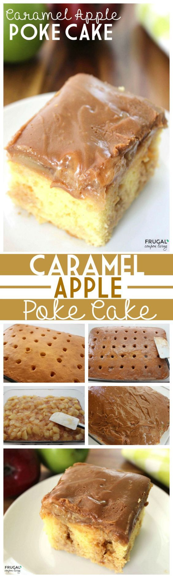 Caramel Apple Poke Cake made with cake mix and apple filling. Easy to make. Recipe details on Frugal Coupon Living. More Fall Cake Ideas and Caramel Apple Recipes. Pin to Pinterest.