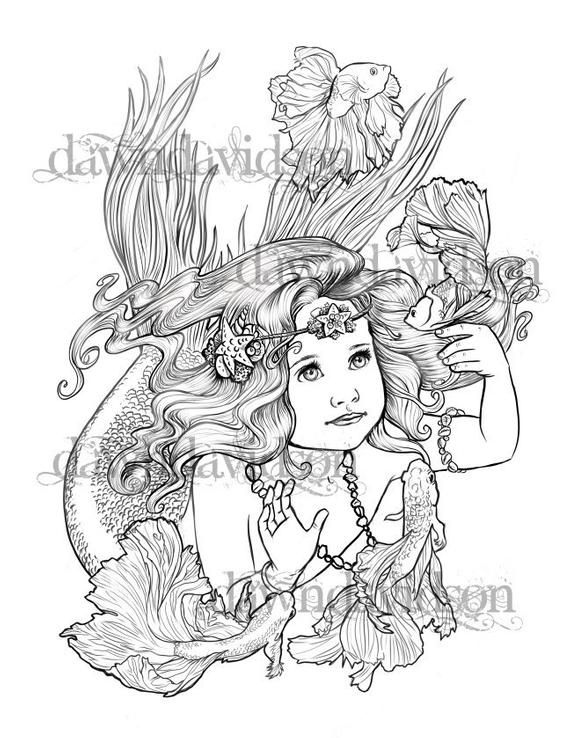 Adult Coloring Page Mermaid Betta Fish Coloring Page Fantasy