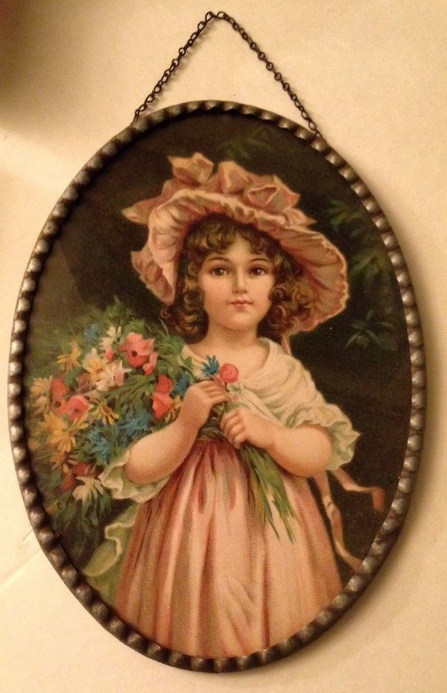 VICTORIAN Child ANTIQUE Metal Frame Print SHABBY COTTAGE CHIC Marked Germany
