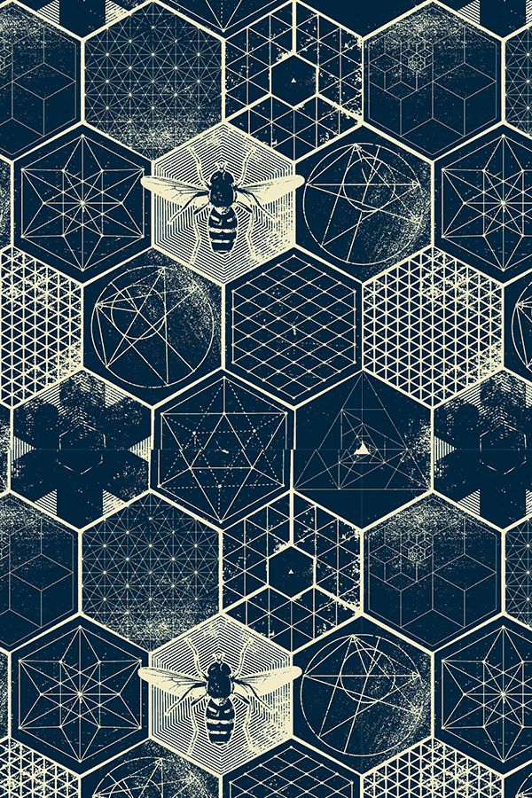 The Honeycomb Conjecture by designer strange_phenomena – Deep navy blue and cream design with geometric patterns, formulas and honeybees. Honeycomb pattern on fabric, wallpaper and gift wrap. Beautiful scientific print!