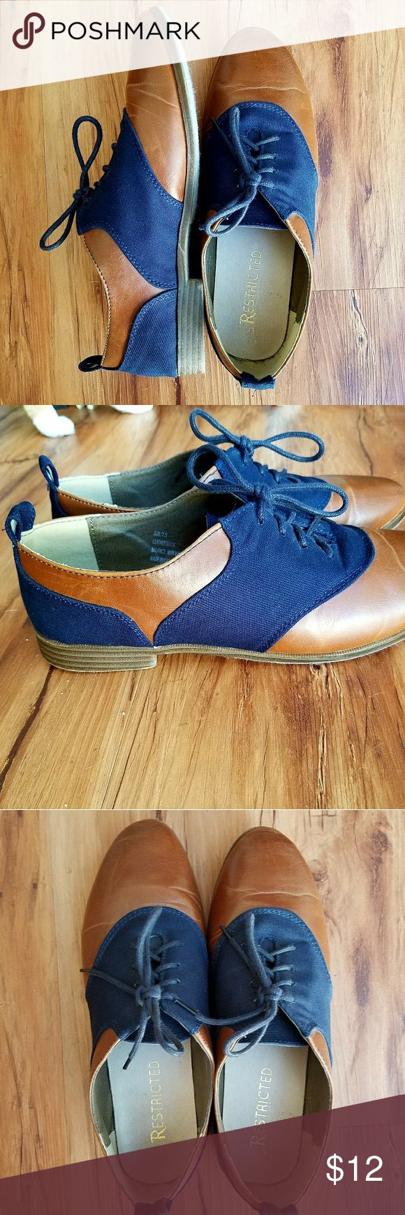 Blue&brown faux-leather oxfords by Restricted, 7.5 Blue canvas and light brown faux leather lace up oxfords. Nice and light.  The leather has some creases in the front, otherwise very goos condition! By Restricted, size 7.5.  No shoebox, sorry!  Any questions, please ask! Restricted Shoes Flats & Loafers