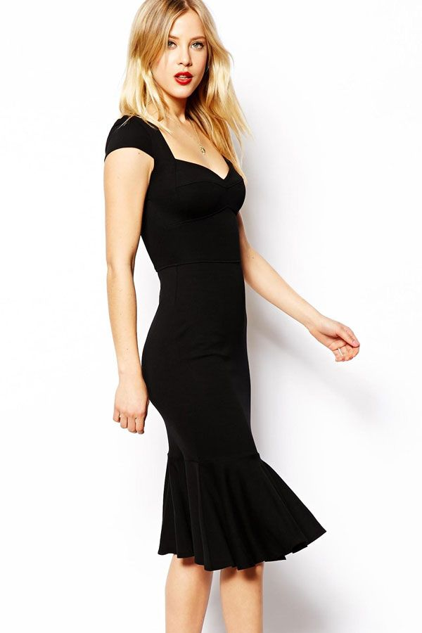 Black Bodycon Midi Dress with Flouncing Hemline