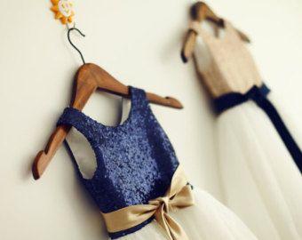 Champagne Gold /Navy Blue Sequin Tulle Flower Girl $47.99