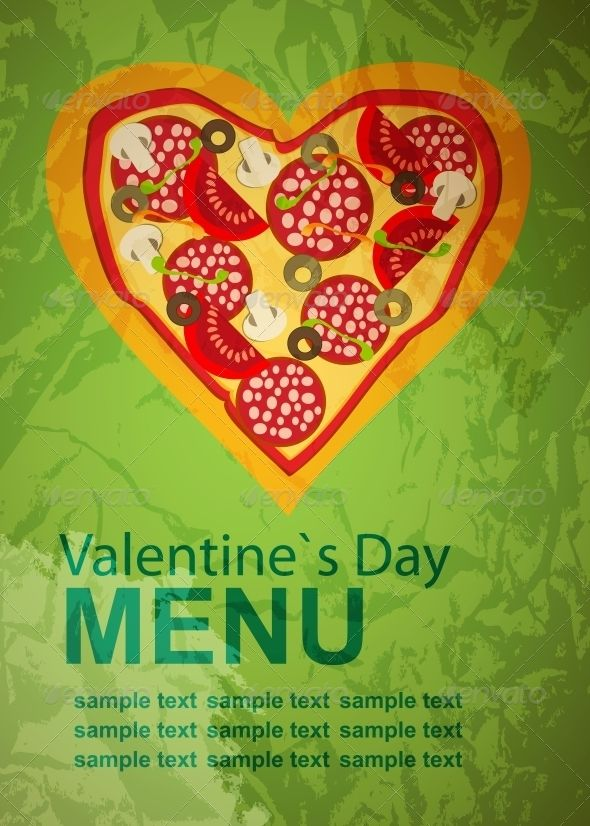 Pizza Menu Template on Valentines Day Abstract art, Valentines - sample pizza menu template