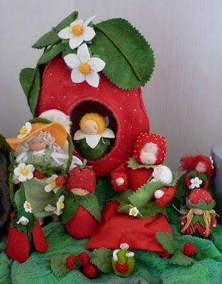 felt strawberry house and family!