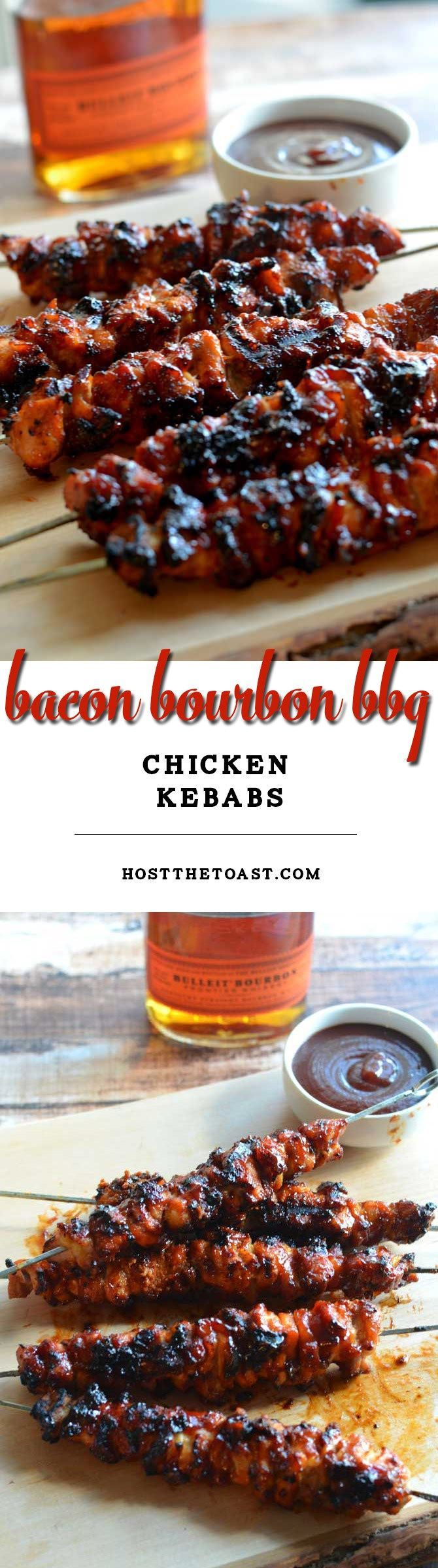 Bacon Bourbon BBQ Chicken Kebabs.  Probably the best grilled recipe EVER.   hostthetoast.com