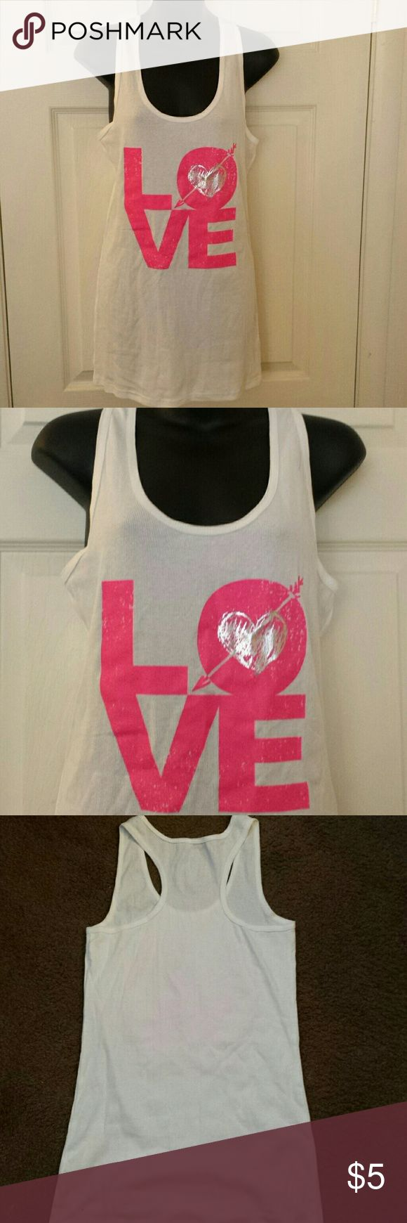 Junior plus size tank top White with love blocked in pink. Never worn. New condition No Boundaries Tops Tank Tops