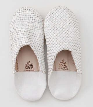 woven white leather babouche