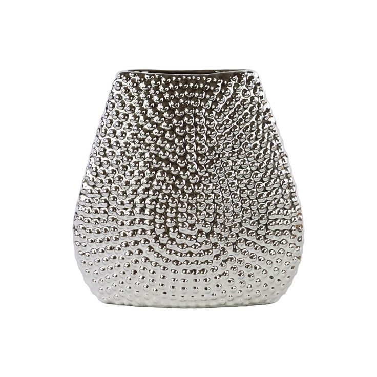 Urban Trends Collection Chrome Finish Silver Stoneware Elliptical Bellied Beaded Vase (Stoneware Vase Chrome Finish Silver)