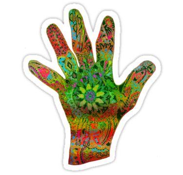 Psychedelic Hand Sticker by StickerNuts
