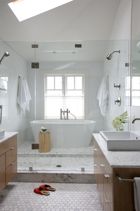 Wet Room By Nancy Riesco White Contemporary Master Bathroom White Oak Cabin
