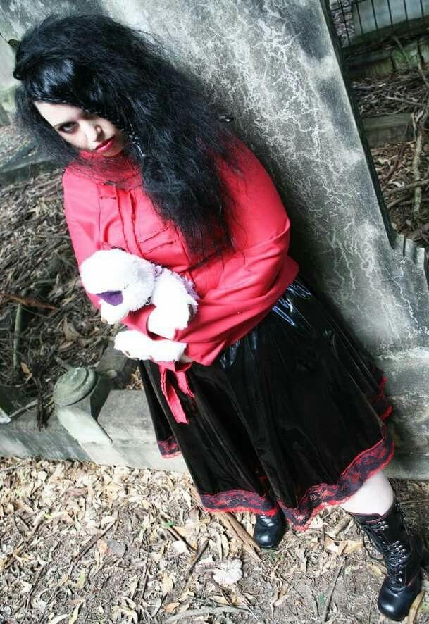 Model jocelyn lothian #graveyard #straightjacket #boots #gothboots #pvc #gothic #blackhair