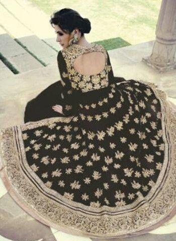 Jinaam Floral 7318 F Black Color Georgette Designer Suit