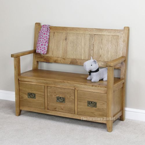Cheshire Oak Monks Bench - Hall Seating Shoe Storage Rustic Furniture OAK41