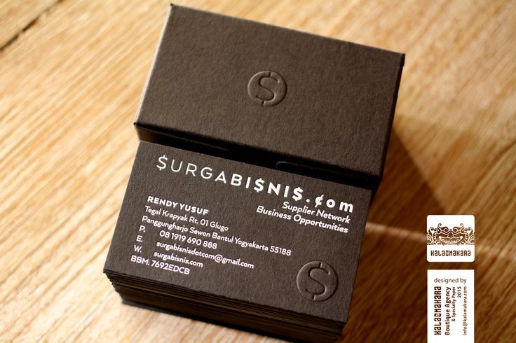 Surga Bisnis Dot Com/  Box: ArjoWiggins Keaykolour Antique - Jet Black 400gsm/ Blind Embossed/ Card: ArjoWiggins Keaykolour Antique - Jet Black 400gsm/ Kurz Colorit 911B (White) foil/  Blind Embossed
