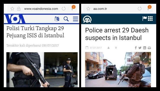 Polisi Turki Tangkap 29 ISIS: Ini Baru Namanya Tangani Terorisme Investigasi Bukan Asal Dor Mati Terus Sebar Opini http://news.beritaislamterbaru.org/2017/07/polisi-turki-tangkap-29-isis-ini-baru.html