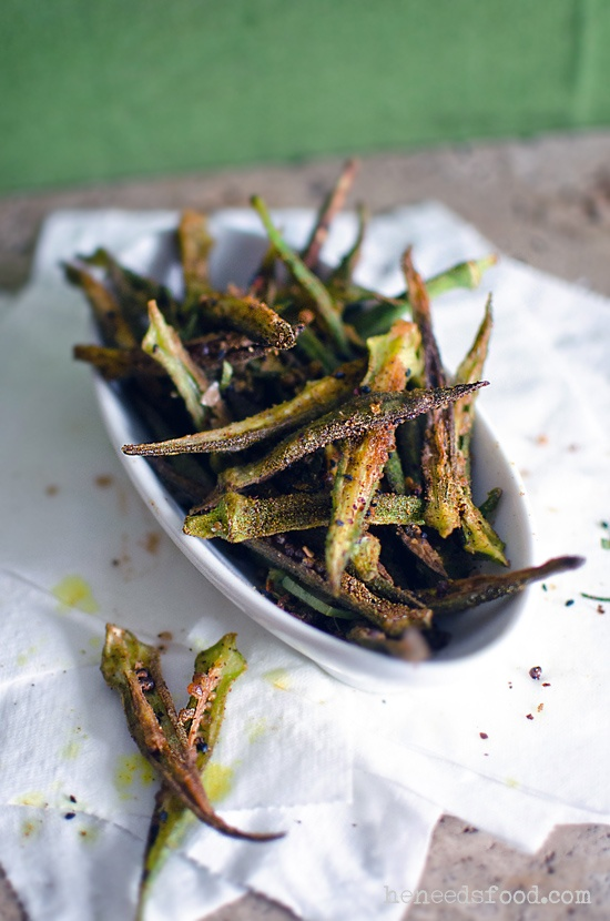 Spiced Deep Fried Okra! A Southern fave, with a twist! They are addictive, snack-a-licious! Mmmmmm!