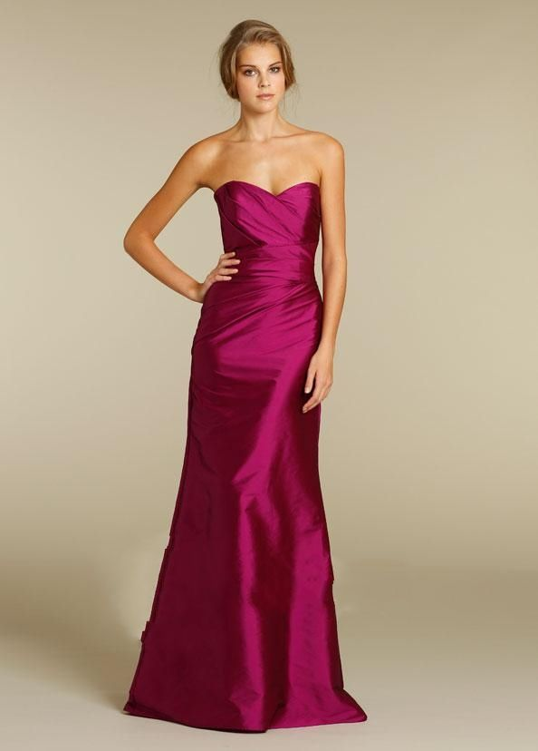 Custom Color Strapless Ruched Floor Length Fuschia Bridesmaid Gowns
