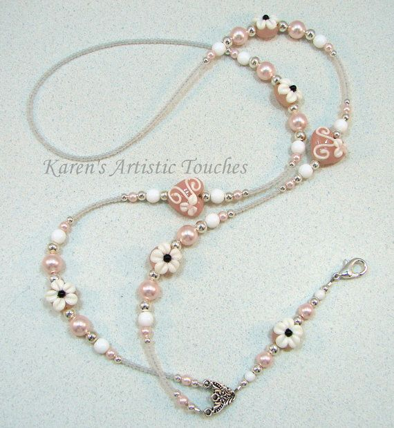 Pink White Flower Pearl Heart Beaded Lanyard ID by ArtisticTouches, $28.00