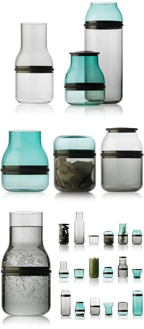 Juuri Glasses. The various glass containers can be combined with plastic rings and disks to create new vessels. The rings create larger, open vessels whilst the disks create divided chambers.
