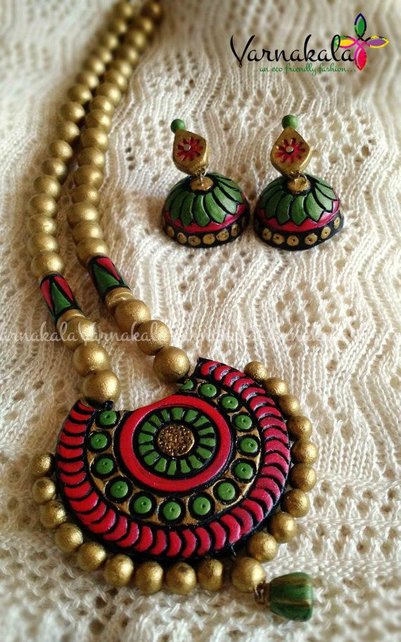 RED GREEN & GOLD Handmade Terracotta Clay Jewelry by Varnakala