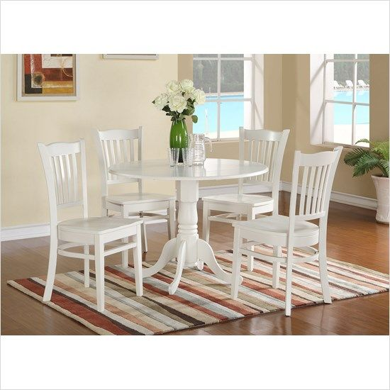 East West Furniture Dublin 5 Piece Small Kitchen Table Set In White | The  Simple