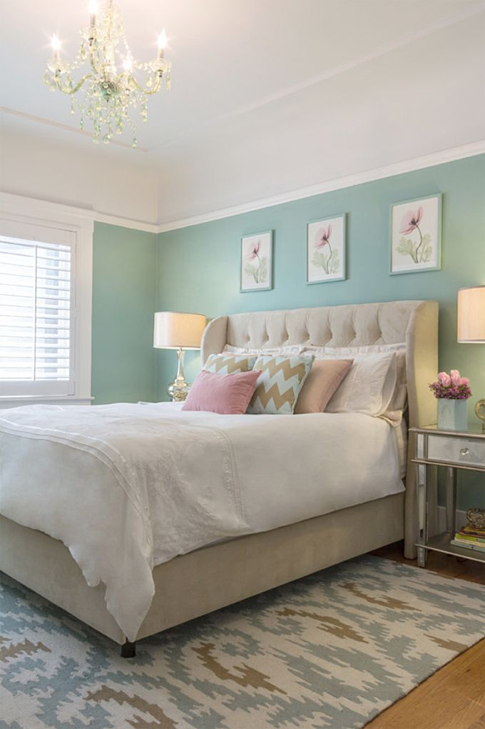 If there's one room that benefits from a serene wall color, it's definitely the bedroom! San Francisco-based Miss Alice Designs created this restful yet elegant space for her client using an inspiring