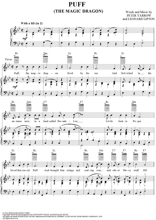 Puff  (The Magic Dragon) Sheet Music Preview Page 1