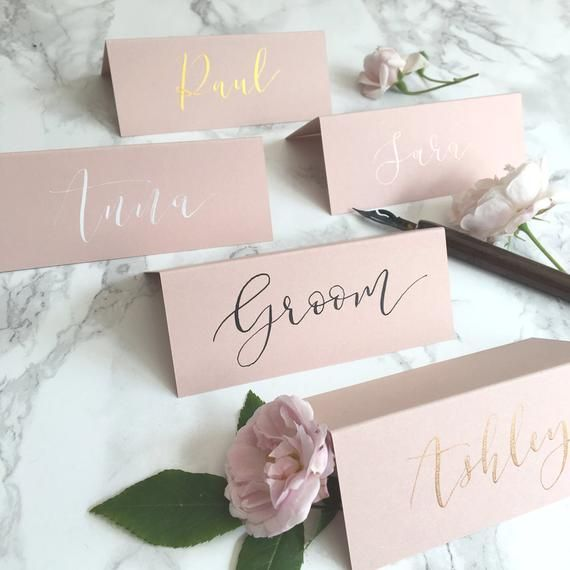 Blush Tent Fold Place Cards Wedding Calligraphy Rose Gold