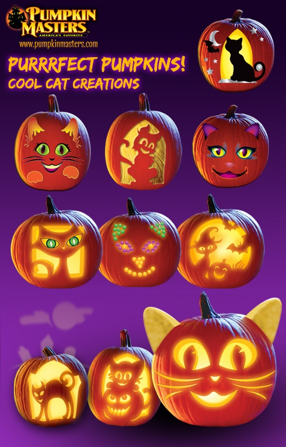 Purrfect Pumpkins!  Cool Cat Creations from Pumpkin Master's carving kits. From…