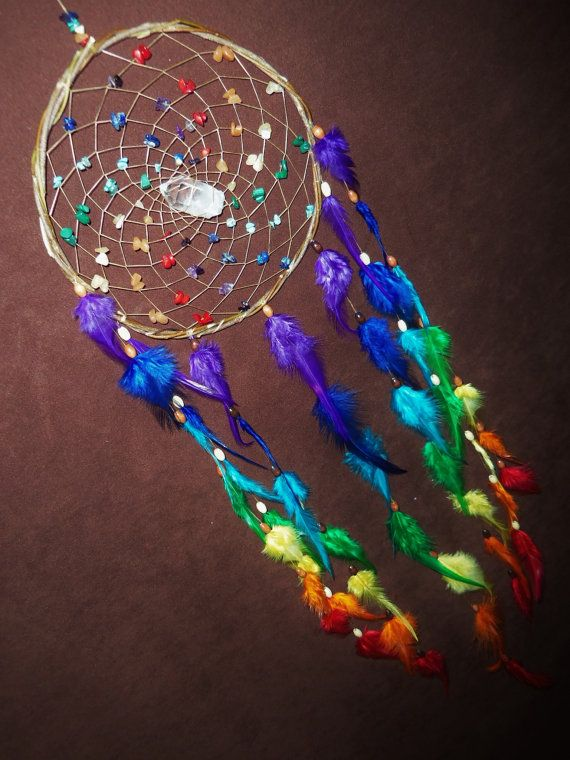 $70 Chakra Love- White Willow Dream Catcher with a Quartz Crystal and a Whole Rainbow of Feathers- Made to Order Dream Catcher- Chakra Love- White Willow Dream Catcher with a Quartz Crystal and a Whole Rainbow of Feathers- Made to Order