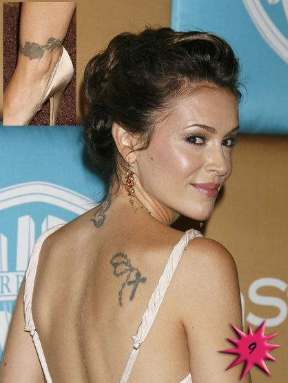 "Alyssa Milano: Having come a long way from her ""Who's the Boss?"" days, this sitcom princess got her tattoos early in her career. Rosary that can be seen on her right shoulder blade"