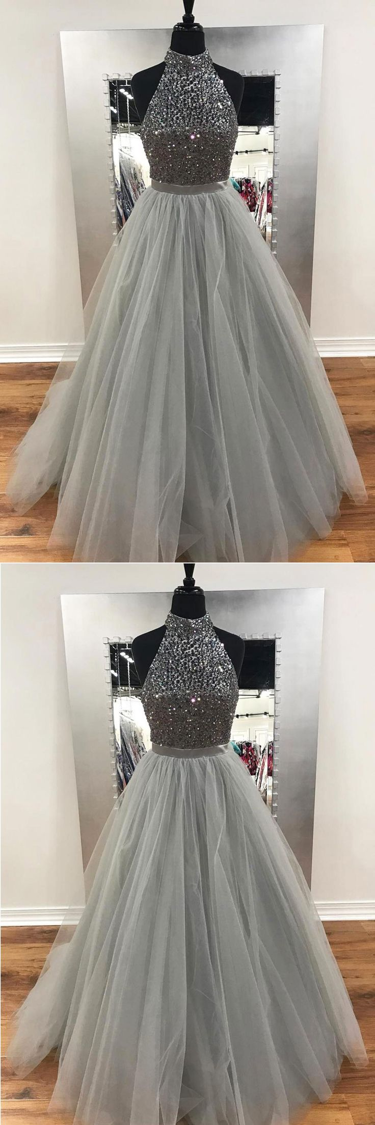 2018 gray tulle long sliver sequins prom dresses, long evening dress