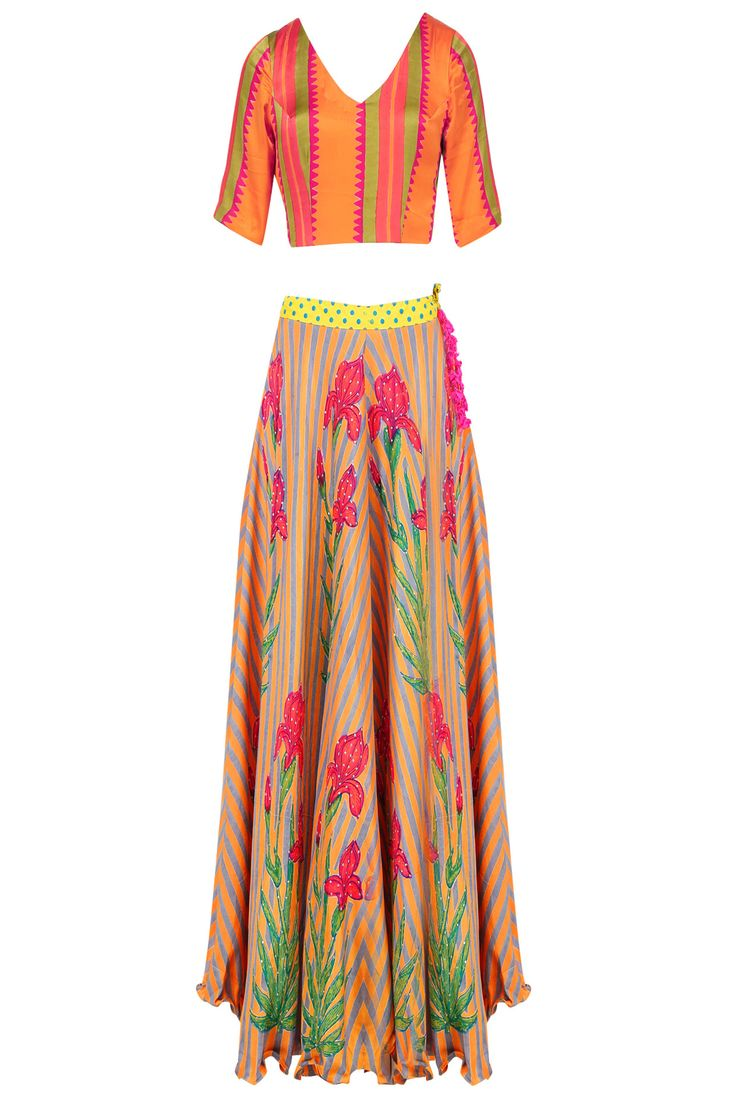 Orange floral printed lehenga set available only at Pernia's Pop Up Shop.