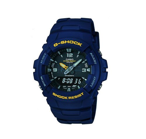 Reloj Casio G-Shock G-100 barato en color azul. Es el modelo de G-Shock G-100-2BVMUR a un precio de chollo. Un reloj indestructible en oferta.